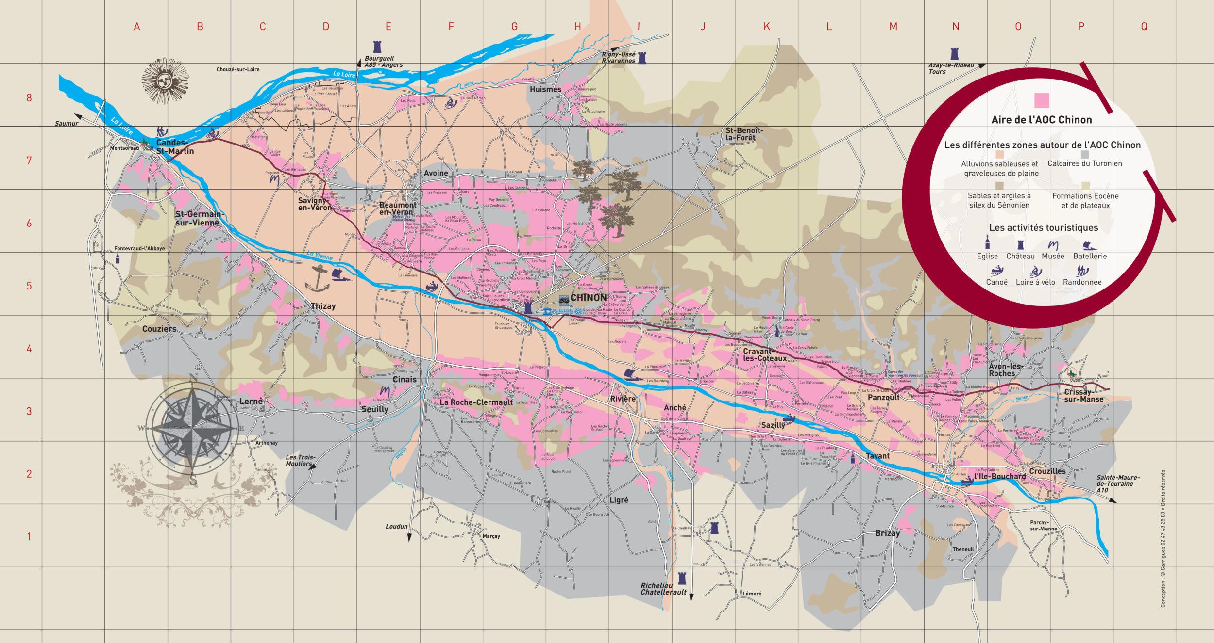 Carte de l'AOC Chinon